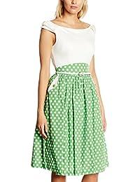Lindy Bop Damen Kleid Carla Cream Green Polka, 32-52