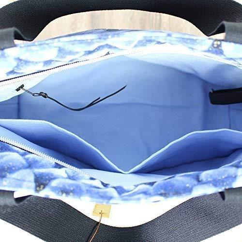 Shopper Reisetasche, Designertasche schwarz blau - 6