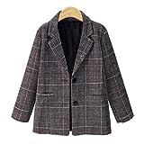 Amphia Lange Plaid-Nichte-Mantel-Jacke für Damen Wanderjacke Funktionsjacke,MantelDa Plaid Lange Ärmel WesteWarme Jacke Mantel Oberbekleidung(Khaki,M)