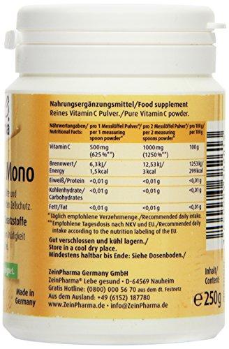 51qBWfeYeuL - ZeinPharma Vitamina C Mono Polvo, 1er Pack (1 x 250 g)
