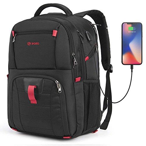CoolBell 17,3 Zoll Laptop Rucksack wasserdicht Schulrucksack Reise Rucksack/Business Backpack/Schützende Tagestasche für Damen/Herren(Schwarz)