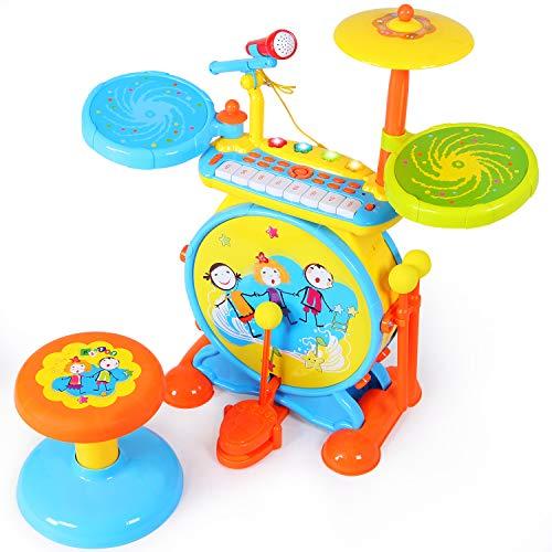 SGILE Spielzeug Trommel-Set, Kinder Rock Drum mit verstellbarem Mikrofon und Hocker, Elektronisch Musik Instrument Piano Klavier Keyboard Drum Set, Audio Link Mobile MP3 IPad, Spielzeug für Kinder