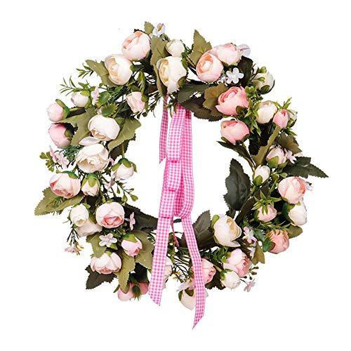 35cm rose wreath simulazione manuale primavera ghirlanda decorativa porta fiore di seta applique da parete san decorazione per matrimoni luogo