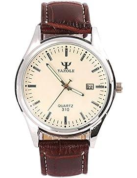 Herren Quarz-Armbanduhr, Business-Stil, Armbanduhr mit weiße Zifferblatt und braunem Leder-Band