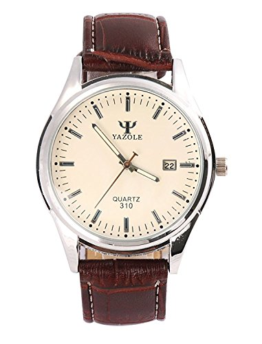 Men Quartz Business Style Wrist Watches With Blue Ray Glass White Dial and Brown Leather Band