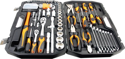 Werkzeugkoffer 101-teilig, Chrom-Vanadium-Stahl, Alle Stecknüsse mit Rändelung, ergonomisch geformte Werkzeuggriffe, im robusten Koffer mit Metallverschlüssen