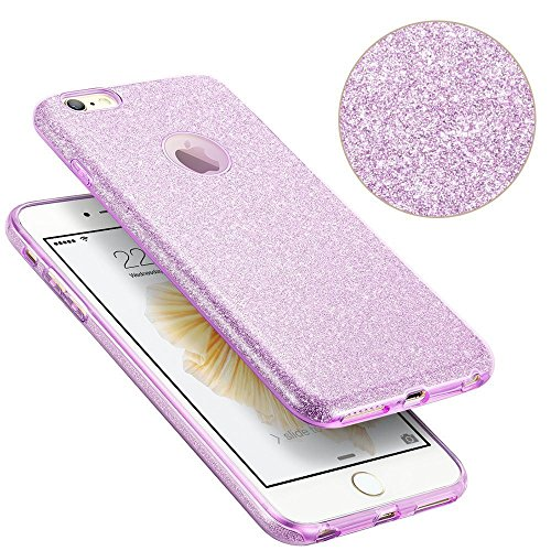 iPhone 6s Case, SICAS ( TM ) Fashion Luxury Protective Hybrid Beauty Crystal Rhinestone Sparkle Glitter Hard Diamond Case Cover For iPhone 6s/6 (Purple-3 Layer) Purple
