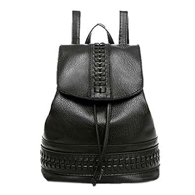 ba1c23c921 OHQ Mme Backpack Sac à Dos Solide Petit Fraise Noir Voyage Femmes À ...