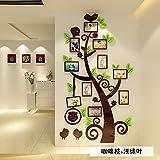 Acrilico cornice fotografica tree portico ristorante divano TV parete di sfondo adesivi 3D Casa acrilico stereo arredamento parete decorazione pittura,caffè germogli foglie di colore verde chiaro,grande