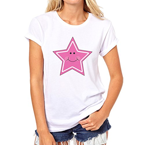 Star Pink White With Face Smiling Damen T-Shirt Weiß