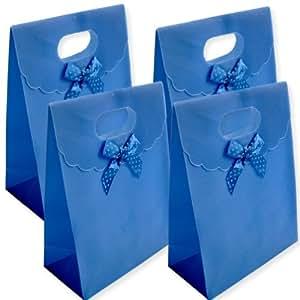 Sac Sachet Pochette Cadeau BLEU AZUR - LOT de 4 - Indéchirable PVC avec Noeud - Fermeture Scratch Bag Self Adhesive - Baptême Mariage St Valentin Noël Anniversaire ... BLEU AZUR