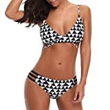 Maillot de Bain 2 pieces Femme,Bikini Femme 2 Pièces Push Up, Frenchenal Femmes Impression Push-Up Rembourré Soutien-gorge Plage Bikini Set Stripe Maillots de bain S-XL