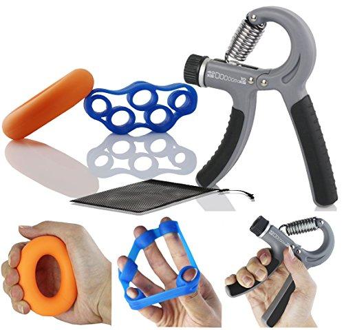 3 IN 1 einstellbarer Fingertrainer Handtrainer-Set,Der&Dies 3 IN 1 Handmuskeltrainer-Set für Fitness,Krafttranieren und Handrehabilitation (Kraftabstufung:10-40 Kg)