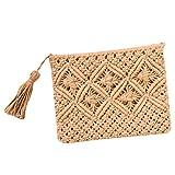QIYUN.Z Weinlese Troddelhandtaschen Strohwebart Beutelstrand Käufer Häkelarbeit Handtasche