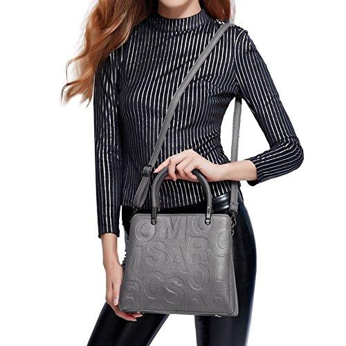 DISSA S892 neuer Stil PU Leder Deman 2018 Mode Schultertaschen handtaschen Henkeltaschen,280×140×240(mm) Grau