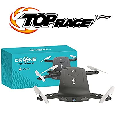 Top Race Quality Remote Control RC Foldable Pocket Drone with 2MP 720P Wide Angle Camera, Live Video, High Resolution Images, Mobile APP Control, Selfie and Altitude Hold Mode with 6-Axis built in Gyro Quadcopter for Kids, Adults and Beginners - holiday f