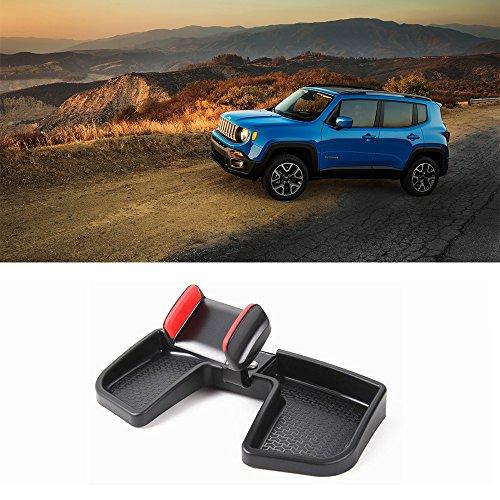 Preisvergleich Produktbild LITTOU Handyhalter ABS Auto Dash 360 Grad Drehen mit Aufbewahrungsbox GPS Halter Auto Mobile Stand Kit für Renegade 2015 2016 2017 (SCHWARZ & ROT)