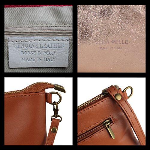 Glamexx24 Borsa vera Palle da Donna a mano , Casual Borsetta a tracolla, elegante Clutch Made in Italy 1.009 1.009.7 Oro
