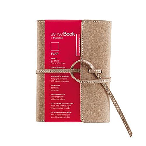 Sensebook 75010600 taccuino in pelle con pagine bianche e chiusura a sovvraposizione, piccolo