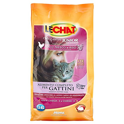 Monge-Crocchette Gattini lechat Kitten 1.5kg con Pollo e Omega 3