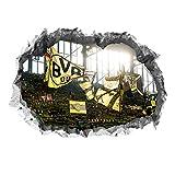 Borussia Dortmund Wandtattoo 3D für Tapete | Sport Fanartikel mit Signal Iduna Park Motiv 3D | Stadion Motivfolie problemlos anzubringen | Fussball Wandbild zum Aufkleben [70 x 100 cm]