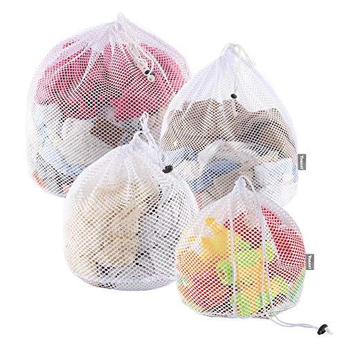 Yoassi 4 Stück Waeschesack Waschmaschine mit Kordelstopper Wäschebeutel Wäschesack für Waschmaschine, Unterwäsche, Babywäsche, Socken, Kaschmir - #1 (Stecken Waschmaschine)