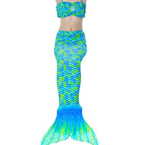 Meerjungfrau Kostüm, QIJOVO Mädchen Meerjungfrau Badebekleidung Meerjungfrauenschwanz für Kinder Schwimmen(3pcs Bikini Sets, Ohne (Alter Kostüme 13 Schwimmen Mädchen)
