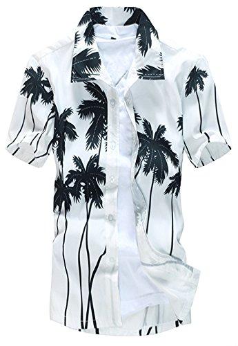 APTRO Herren Freizeit ST22 Weiss Mehrfarbig Strand Hemd XXL (Jungen Aloha Shirt)