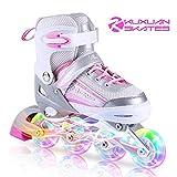 Kuxuan Saya Pattini in Linea Regolabili, Ruote Illumina LED, Divertente Inline Skates...
