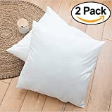 "ROHI Set of 2 50cm x 50cm Hypoallergenic Cushion Pad Stuffer Pillow Insert Sham Square Polyester, Standard / White – MADE IN UK (Pack of 2 | 20"" x 20"")"