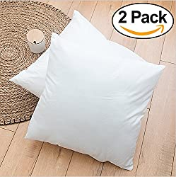 Rohi Set of 2 40cm x 40cm Hypoallergenic Cushion Pad Stuffer Pillow Insert Sham Square Polyester, Standard/White – MADE IN UK (Pack of 2 | 16