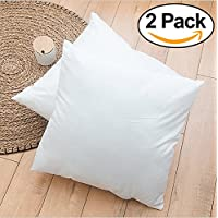"ROHI Set of 2 65cm x 65cm Hypoallergenic Cushion Pad Stuffer Pillow Insert Sham Square Polyester, Standard / White – MADE IN UK (Pack of 2 | 26"" x 26"")"
