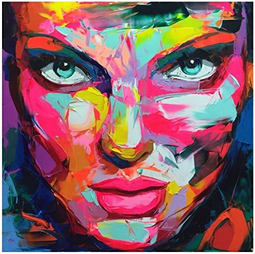 Ölgemälde Auf Leinwand Handgemalt,Große Rote Lippen Grüne Augen Cool Frau Bunte Gesichts Portrait,Spachtel Bild Malen,Professionelle Kunst Dekor Für Wohnzimmer Schlafzimmer Hotel Cafe,90 X 90 Cm - Abstrakte Frau Gesicht