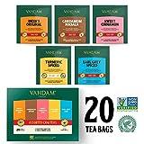 VAHDAM, Assortimento di tè Chai   5 tè, 4 bustine di tè piramide ciascuno   India's Original Masala Chai, Sweet Cinnamon Chai, Cardamom Chai, Earl Grey e tisana speziata alla Chai