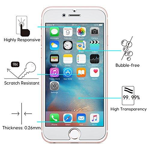 Ensembles iPhone 6S Plus Vitre Film Protection Verre Trempé (2 Pièces) + Coque, OMOTON Protecteur Ecran Et Coque Noir Black