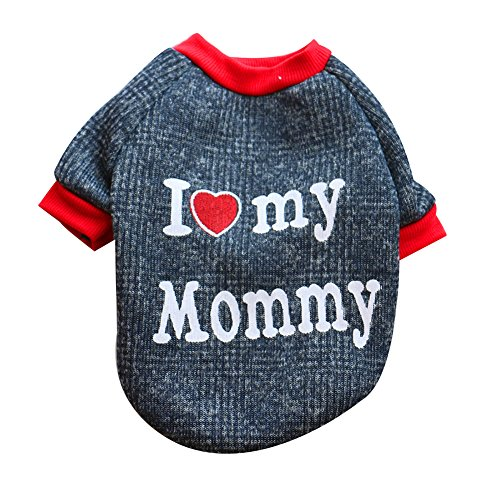 CricTeQleap Mode Hund T-Shirt Ich Liebe Meinen Papa Mama Cotton Puppy Raglan Pullover Schöne Haustier Kleidung Love Mommy L (Super Einfach Halloween-kostüme Männliche)