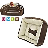 Outdoortips MULTICOLOR SOFT LARGE LUXURY WASHABLE PET DOG PUPPY CAT BED CUSHION SOFT WARM BASKET WITH FOUR SIZE COMFY (Coffee, XL)
