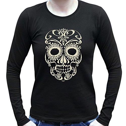Damen-Mädchen-Girlie-Halloween-Kostüm Langarm Fun T-Shirt coole Geschenk Idee Skull Geister Gespenster Kürbis Outfit Farbe: schwarz Gr: (Schnelle Kostüm Halloween Ideen)