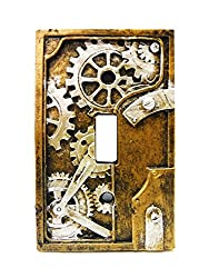 4.25 Inch Resin Steampunk Light Switch Plate Cover Gray Gold