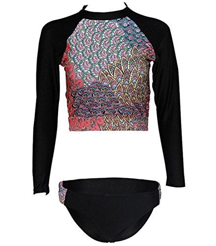 DFL Womens Long Sleeve Rash Guard Bikini Swimsuit ad asciugatura rapida abbigliamento protezione solare Beachwear Surf , picture color ,