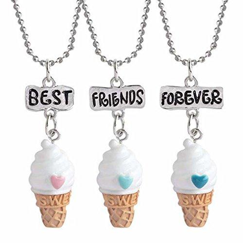 MJARTORIA Femme Enfant Bijoux Ensemble Collier Amitie Best Friends Forever Meilleur Ami Pendentif Crème Glacée Ice Cream Mignon Lot de 3 Pcs