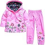 Yuncai Bambine Manica Lunga Incappucciato Antipioggia Impermeabile Antivento Fiore di Stampa Pantaloni Set di 2 Pezzi Pink M