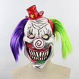 TOOGOO Mascara de Miedo Fantasma de Terror de Latex Accesorios de Baile de Bar de Escape de habitacion de Halloween Payaso de Llama Sombrero Rojo Terror Payaso murcielagoE