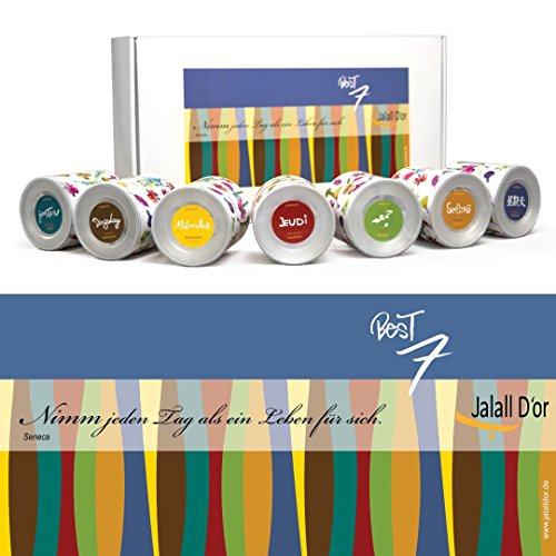 Geschenkset GENIEßE DEN TAG (Seneca) von Jalall D'or mit 7 Dosen | Geschenkbox mit Premium-Nüssen | Geburtstagsgeschenk Mann & Frau | Geschenk für besonderen Anlass