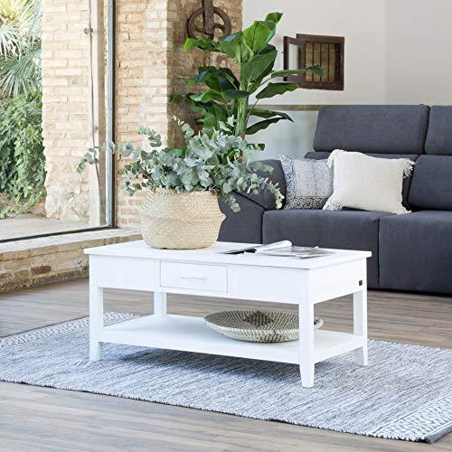 Amelia Table Basse Relevable Blanche - Bois - 100x55x45 cm - Couleur Blanc Winter
