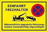 Melis Folienwerkstatt Schild - Einfahrt freihalten- 45x30cm | Bohrlöcher | 3mm Hartschaum - S00020G-C -20 Varianten