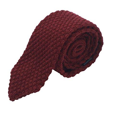 MASSI MORINO Herren Strickkrawatte, handgenähte Krawatte aus 100% echter Baumwolle in verschiedenen Farben - schmale 6cm Slim Fit Herrenkrawatte (Weinrot) (Wolle-italienische Business-anzug)