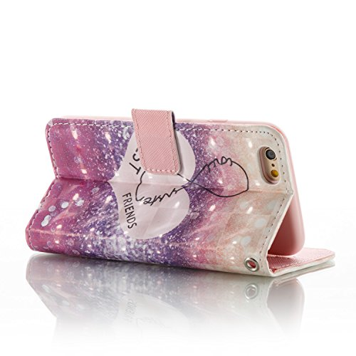 Custodia Cover per iPhone 6/6S plus ,Ukayfe Luxury Glitter Modello Bumper Slim Folio Protectiva Lussuosa PU pelle Custodia Flip Cover per iPhone 6/6S plus con 3D Diamante Design, [Shock-Absorption] Po Amico