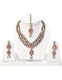 I Jewels Traditional Gold Plated Kundan Necklace Set For Women (IJ315Q)