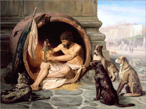 Poster 120 x 90 cm: Diogenes in seiner Tonne von Jean Leon Gerome - hochwertiger Kunstdruck, neues Kunstposter (Gerome Jean Leon)